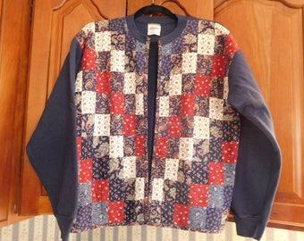 Vintage Quilted Sweatshirt Jacket in Size Medium (38-40)