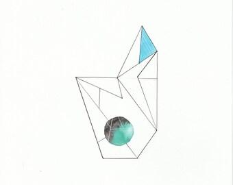 Original Abstract Watercolour Painting/ Art - Minimalist, Geometric Art in Blue