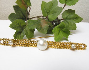 Gorgeous Vintage Braided Gold tone Extra Large Bar Pin with Faux Pearl  Accents  Nice Accent Piece Very Pretty and in Excellent Condition