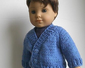 "18"" Boy Doll Clothes Handknit Cardigan Sweater in Blue Handmade to fit AG Boy Doll Logan and Other similar dolls - V-Neck Sweater"