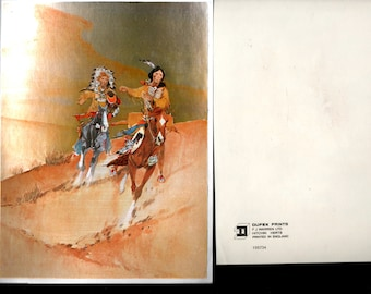 Dufex Foil Art Print ~  # 155734 ~ England F. J. Warren LTD, No Frame Vintage ~ Native American Indians on Horses