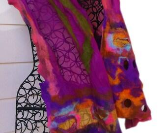 Nunofelted Scarf: Luxury; Purple Scarf; Mulberry Scarf; Fiber Art to Wear; Statement Scarf