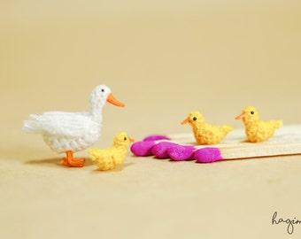 Miniature crochet duck family, Tiny Ducks, Amigurumi tiny animals