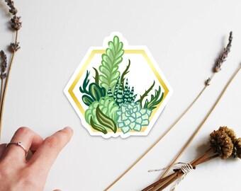 Succulent Garden with Gold Hexagon Border Laptop Sticker, Water Bottle Sticker, Pantone Color of the Year, Succulent Stickers, Cool Stickers