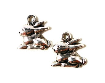 Silver Rabbit Charms 14x13mm Antique Silver Tone Metal Easter Bunny Animal Charm Pendant Jewelry Making Jewelry Findings Craft Supplies 10pc