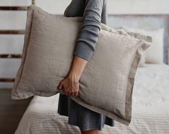 Natural linen sham pillow case. Stone washed. Natural linen colour.
