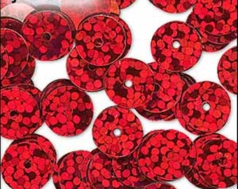 Hologram Red Flat Sequins 6mm - JR01482