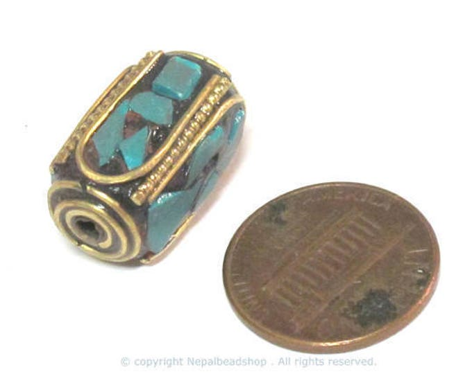 1 Bead  - long thick cuboid shape Tibetan brass beads with moasic turquoise inlay 18 - 19 mm long - BD971