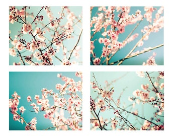 blossom photography set flower photography floral 5x7 8x10 set of 4 fine art photography botanical pastel teal wall art spring decor nursery