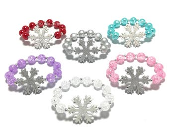 6 Snowflake Party Favor Small Beaded Charm Bracelets - Girls White, Pink, Purple, Red, Silver, Turquoise Bracelets - Christmas Goodie Bags