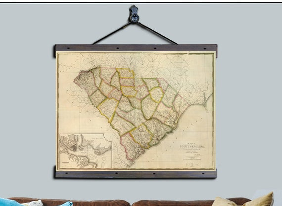 South carolina map pull down map vintage map 1822 44h south carolina map pull down map vintage map 1822 44h x 60w school map wall chart hanging map antique map gumiabroncs Images