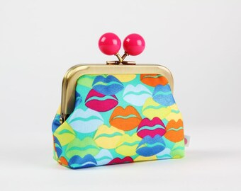 Metal frame coin purse with color bobble - Kool thing in aqua metallic - Color dad / Libs Elliott / Wilside / Kisses lips / blue pink yellow
