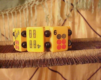 large 8 tile mah jong bracelet mix Chinese Bakelite tiles Jan Carlin Original