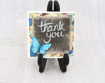 Thank You Gift Thank You Tile Decorative Coaster Trivet Butterfly Tile Unique Thank You Gift for Friend Present for Thank You - Tile w/Easel