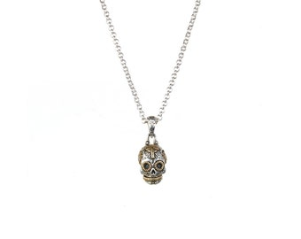 Small Sugar Skull Pendant Necklace