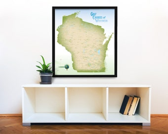 Wisconsin Golf Courses Map, Large 27x30, Golfing Wisconsin, Golf Poster, Golf Gift