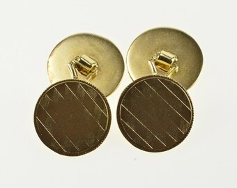 10K Round Checkered Lattice Pattern Circle Cuff Links Yellow Gold