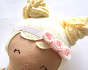 Pink Elastic headband with pink flowers for your Ellie and Fern doll