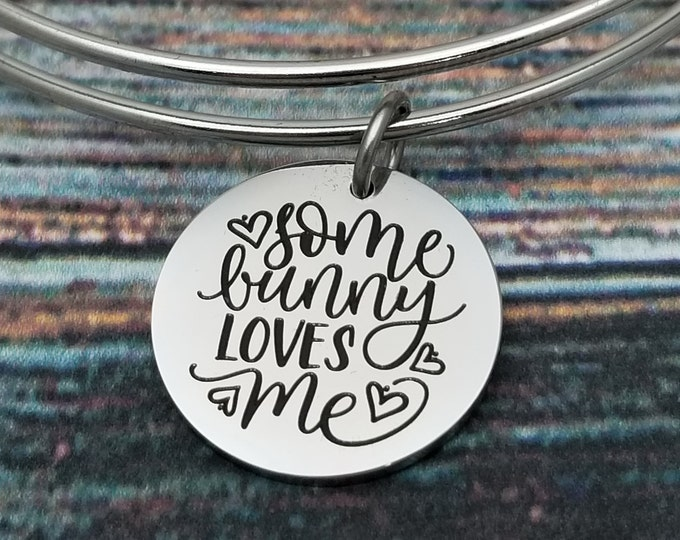Somebunny loves me Customizable Expandable Bangle Charm Bracelet, choose your charms, create your style, design your bracelet,