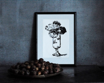 Monotype print, Flowers in vase, Wall Art Print,  Fine art painting, Black and White,  Still life