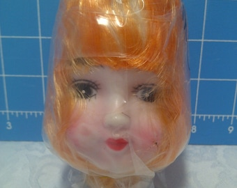 """Vinyl Doll Head with Blonde Rooted Hair - 5"""" Tall with 1"""" Neck"""