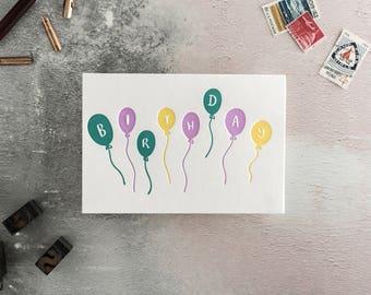 Birthday Balloons Letterpress Birthday Card