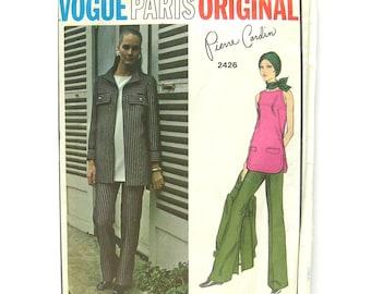1970 Vogue 2426 Paris Original Sewing Pattern / Pierre Cardin Designer / Sleeveless Tunic / Flared Pants / Women's Jacket Pattern / UNCUT FF