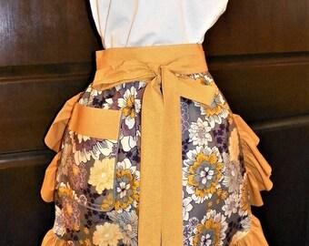 Fun, Flirty, Sassy Hostess Waist Apron 23 inch Flourish Floral by Nanasaprons Handmade for Fun Cooking Baking Activities