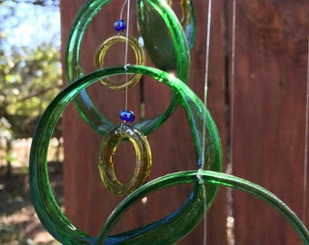 green, yellow, GLASS WINDCHIMES from RECYCLED bottles, garden decor, wind chimes, mobiles, musical, windchimes