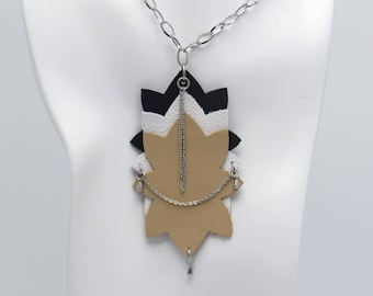 Leather Geometric Necklace with stainless steel accents