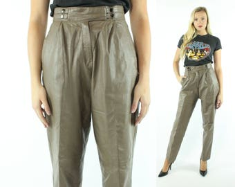 1980s Leather Trousers Tan High Waisted Pleated Pants Tapered Legs Vintage 80s Medium M Biker Motorcycle Brown Arlando