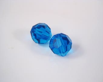 10mm Capri Blue Round Swarovski Crystal Beads (Package of 2)