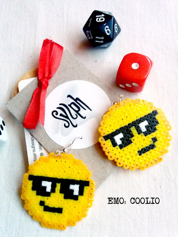 Cool pixelated emoticon earrings perfect for those summer breezes and beach parties, 8 bit pixel jewelry made of Hama Mini Perler Beads