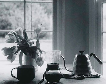 Coffee Photography Print, Black and White, Kettle Photo, Tulip Photo, Morning Photography Print, Coffee Cup Photo, Home Decor, Gallery Wall