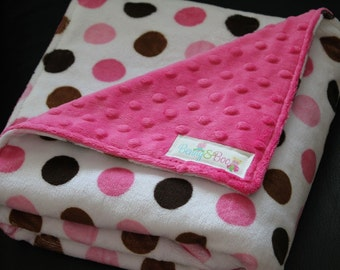 RESERVED FOR ELAINE Pink and Brown jumbo polka dot - double sided minky baby blanket