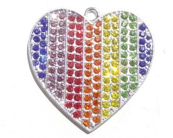 40mm*35mm, Rainbow Valentine Heart rhinestone Pendant, P60
