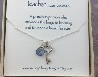 Teacher gift, teacher appreciation, sterling silver key necklace with pearl or gemstone briolette, key and heart necklace N182/MS114