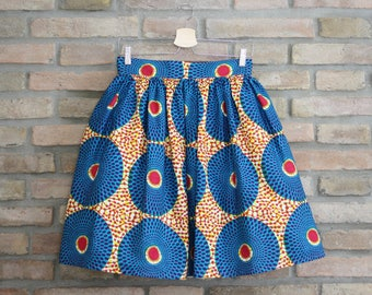 AMY - handmade gathered skirt African Wax Ethno Chic