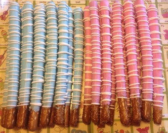 One Dozen Large CrowleyDipped Pretzel Rods ~ Perfect for Baby Shower