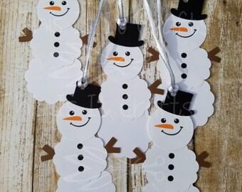 Christmas Gift Tags - Handmade Gift Tags - Snowman Gift Tag - Holiday Gifts
