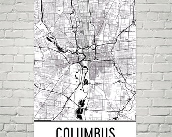 Columbus Ohio Map Art Print, Columbus Map Art Poster, Columbus Wall Art, Map of Columbus OH, Print, OSU Gift, Birthday, Decor, Modern, Art