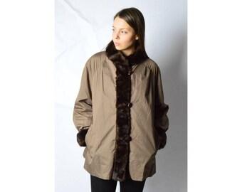 Vintage 80s Brown Faux Fur Reversible Coat Size M/L