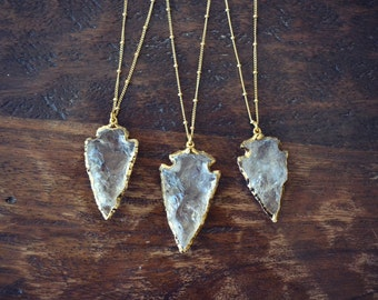 QUARTZ ARROWHEAD NECKLACE /// Gold or Silver