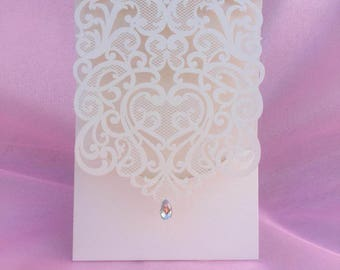 Ivory Laser Cut Art Shinny Crystal Wedding Invitations Cards Wedding  Invitation Quinceanera invitation Sweet sixteen invitation