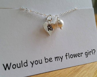 TWO Personalized Initial Heart Charm and Pearl Necklace - Junior Bridesmaid and Flower Girl Gift, Wedding Jewelry Gift