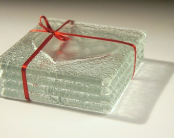 4 Clear Heart Coasters-FREE UK SHIPPING-Set of 4 Fused Glass Coasters with Heart Design