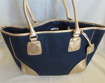 Vintage Retro Handbag Purse - Neiman Marcus - Denim Blue with Gold