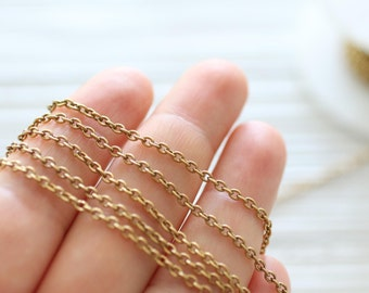 2x3mm brass antique gold cable chain, brass chain, antique chain, gold chain, cable chain, brass necklace chain, thin jewelry chain
