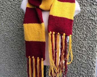 Maroon and Yellow Striped Scarf