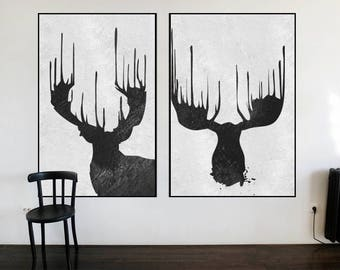 large abstract deer painting on canvas  set of 2 pieces black and white wall art original painting,  minimalist painting, minimal art,